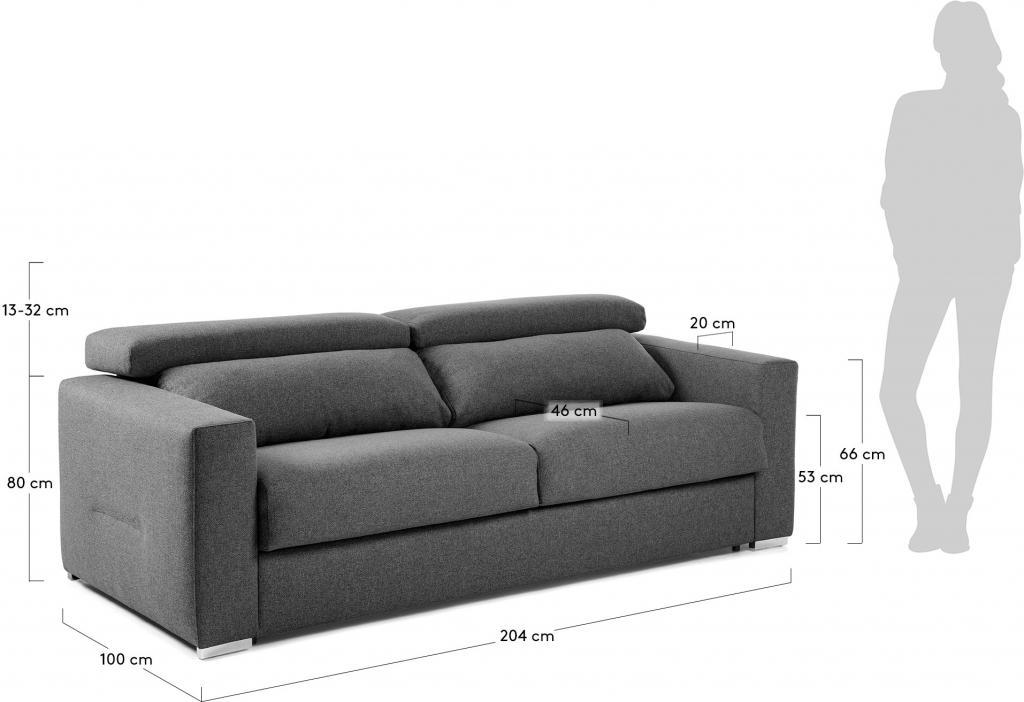 Slaapbank 140 Cm.Laforma Slaapbank Queen Grafiet Verstelbaar Visco 140 Cm La Forma
